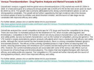 Venous Thromboembolism - Drug Pipeline Analysis and Market F