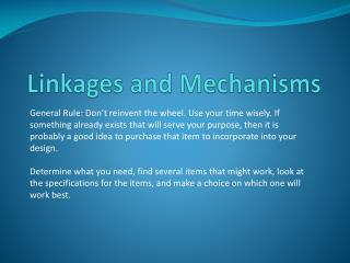 Linkages and Mechanisms