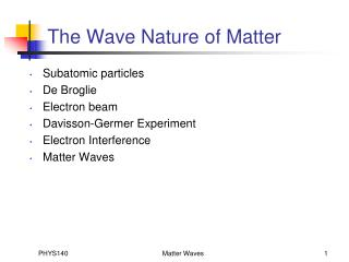 The Wave Nature of Matter