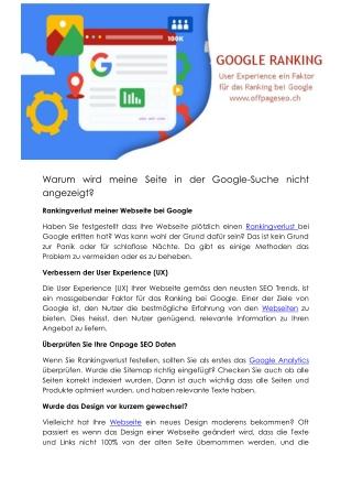Warum wird Webseite bei Google nicht gefunden?