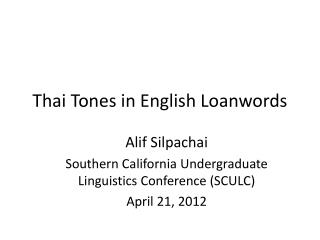 Thai Tones in English Loanwords
