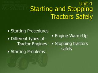 Starting and Stopping Tractors Safely