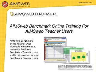 AIMSweb Benchmark Online Training For AIMSweb Teacher Users