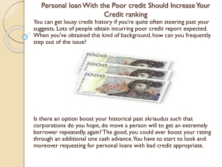 Personal loan With the Poor credit Should Increase