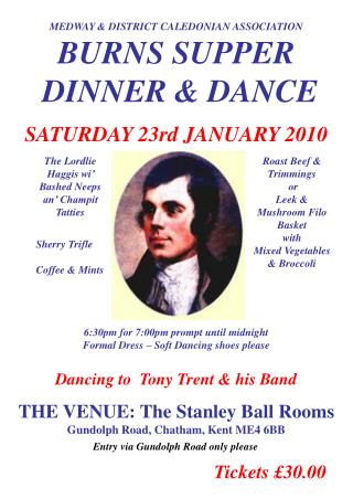 MEDWAY & DISTRICT CALEDONIAN ASSOCIATION BURNS SUPPER   DINNER & DANCE SATURDAY 23rd JANUARY 2010