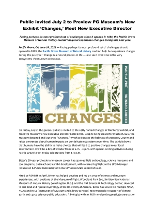Public invited July 2 to Preview PG Museum's New Exhibit 'Changes,' Meet New Executive Director