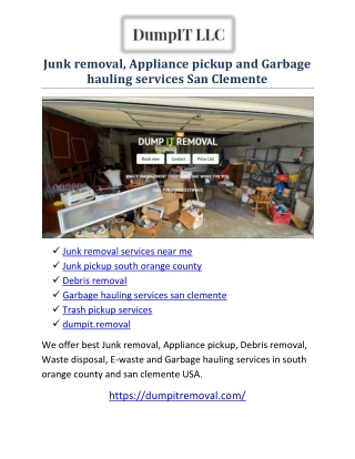 Junk pickup south orange county