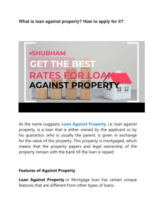 What is loan against property