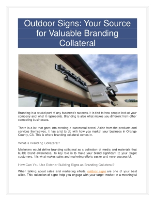 Building your brand with collateral