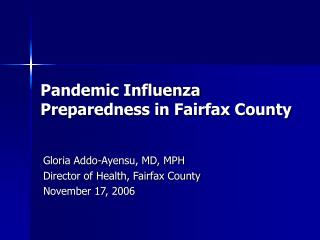 Pandemic Influenza Preparedness in Fairfax County