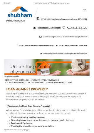 Loan Against Property _ LAP Eligibility Criteria & Interest Rate