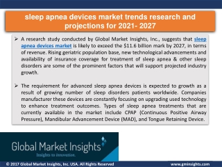 Sleep apnea devices market growth drivers in 2021 & Challenges by 2027