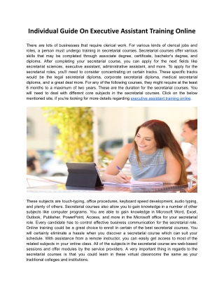 Individual Guide On Executive Assistant Training Online