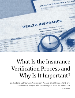 What Is the Insurance Verification Process and Why Is It Important?