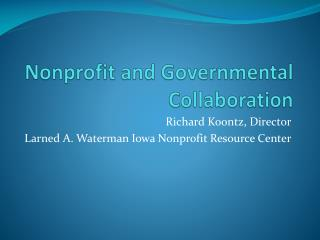 Nonprofit and Governmental Collaboration