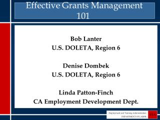 Effective Grants Management 101
