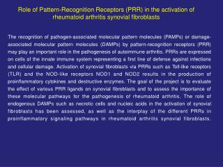 Role of Pattern-Recognition Receptors PRR in the activation of rheumatoid arthritis synovial fibroblasts