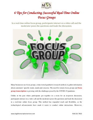 6 Tips for Conducting Successful Real-Time Online Focus Groups