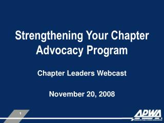 Strengthening Your Chapter Advocacy Program
