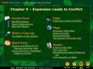 Chapter 9 – Expansion Leads to Conflict