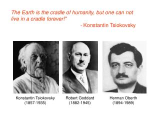 The Earth is the cradle of humanity, but one can not live in a cradle forever!""