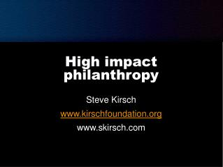 High impact philanthropy