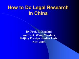 How to Do Legal Research in China