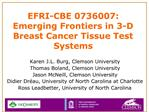 EFRI-CBE 0736007:  Emerging Frontiers in 3-D Breast Cancer Tissue Test Systems