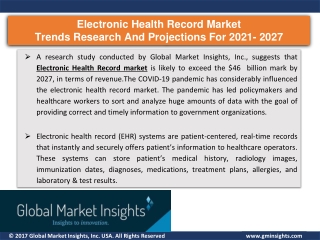 Electronic health record systems market 2021 to 2027, key industry players & gro