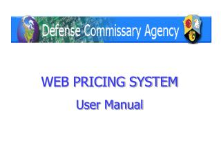 WEB PRICING SYSTEM User Manual