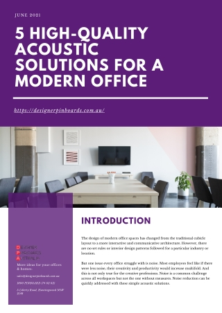 5 High-Quality Acoustic Solutions for a Modern Office