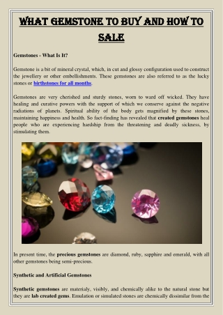 What Gemstone to Buy and How to Sale