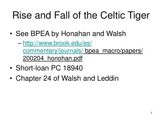 Rise and Fall of the Celtic Tiger