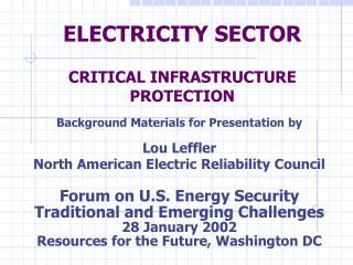 ELECTRICITY SECTOR CRITICAL INFRASTRUCTURE PROTECTION