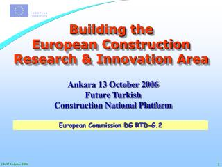 Building the European Construction  Research & Innovation Area
