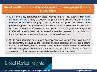 Hand sanitizer market research report by 2021 to 2027
