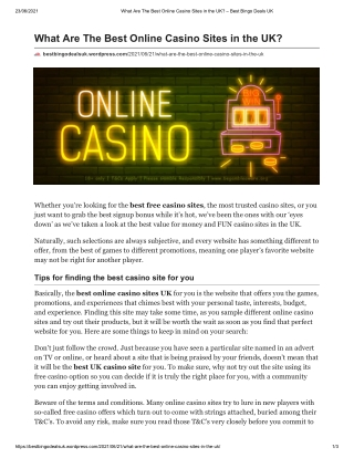 What Are The Best Online Casino Sites in the UK?