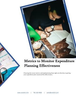 Metrics to Monitor Expenditure Planning Effectiveness