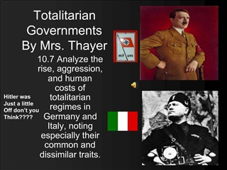 Totalitarian Governments By Mrs. Thayer