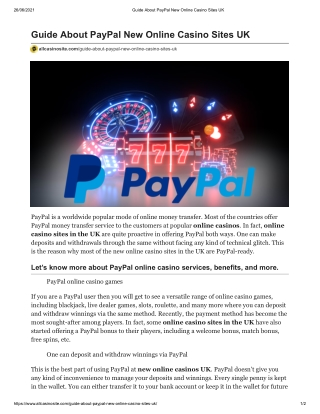 Guide About Online PayPal Casino Sites UK