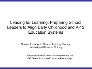 Leading for Learning: Preparing School Leaders to Align Early Childhood and K-12 Education Systems