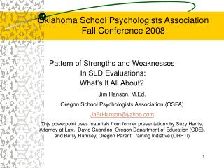 Oklahoma School Psychologists Association Fall Conference 2008