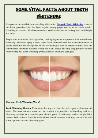 Some Vital Facts About Teeth Whitening