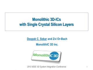 Monolithic 3D-ICs  with Single Crystal Silicon Layers