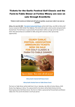 Tickets for the Garlic Festival Golf Classic and the Farm-to-Table Dinner
