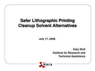 Safer Lithographic Printing Cleanup Solvent Alternatives