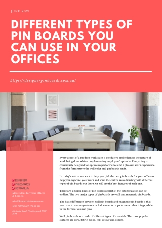 Different Types of Pin Boards You Can Use In Your Offices