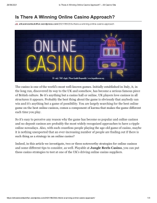 Is There A Winning Online Casino Approach?