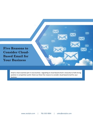 Five Reasons to Consider Cloud-Based Email for Your Business