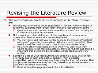 Revising the Literature Review